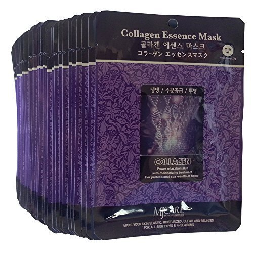 MJ Collagen Essence Face Skin Mask Pack Elastic,Moisturized,Clean,Relaxed 30Pcs (Collagen) by MJ CARE (Mj Care Maske)
