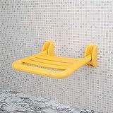 Sedile ribaltabile per bagno, sgabello per doccia sedile per uomo anziano, sedia per vasca a muro, panca per scarpa sostitutiva in acciaio inossidabile,Yellow
