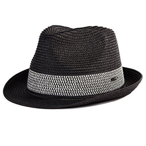SIGGI schwarzer Sommerhut Sonnenhut Panama Webart Stroh Fedora Hut mit (Safari Stroh Hut)