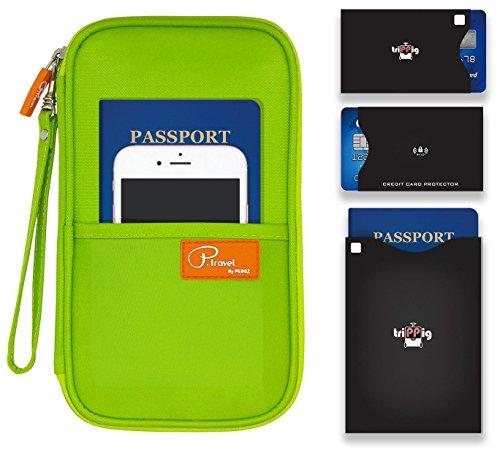 Passaporto Portafoglio/borsa da viaggio frizione/Card Cash Organizer passaporto/porta documenti con Hand Strap (Oxford Navy + RFID Stop) Oxford Green with RFID Stop