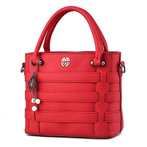 HQYSS Damen-handtaschen PU Leder OL Pendler Atmosphäre Frauen geprägte Volltonfarbe Umhängetasche Messenger Tasche wine red