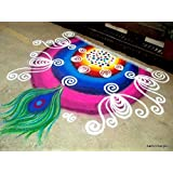 JaiLouS Made In India Traditional Rangoli Color In Bottle Pack - Design Creativity With Set Of 10 - 5 Marble Colors + 5 Neon Colours - 100 Gm Each - Free Traditional Indian Motifs Stencil - Floor Art Diwali Floor Décor - Festive Party Decorations