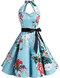 Bbonlinedress Mujer 50s 60s Halter Retro Vendimia Rockabilly Lunares y Floral Cóctel Vestido