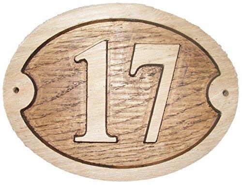 Nr. 17Oval Eiche natur Holz House Tür Zahl 20,3x 15,2cm stark geprägt Gravur Natürliche Holz Oberfläche Schild Haus Erwärmung Geschenk (200x 150mm) Nr. 17Siebzehn rund -