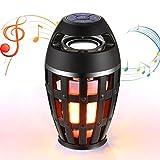 LED Bluetooth Lautsprecher, Tragbarer Stereo Speaker für den Außenbereich, Flicker Flamme 96 LEDs Musik Nachttisch Atmosphäre Lampe, Musik Lautsprecher Boxen mit HD Audio und Enhanced Bass
