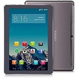 4G LTE Tablette Tactile 10 Pouces -TOSCIDO Android 9.0 Certifié par Google GMS,4Go RAM,32Go ROM+32Go TF Carte Intégré,Octa Core 2GHz CPU Haute Vitesse,Doule Sim,WiFi,Double Haut-Parleur Stéréo - Gris