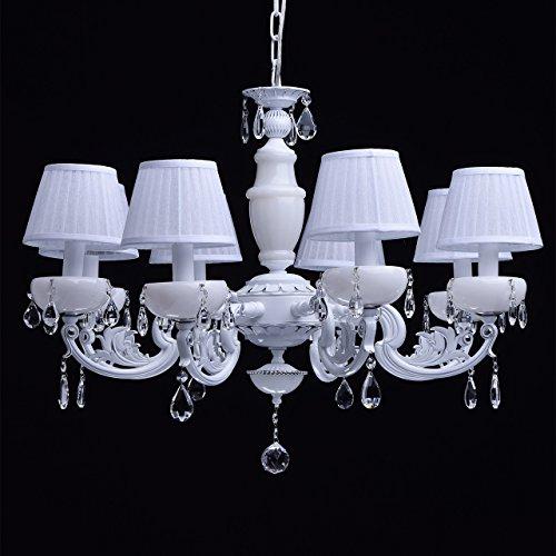 Kronleuchter weiß Kristall klar 8 flammig elegant pendell mit porzellan - 5