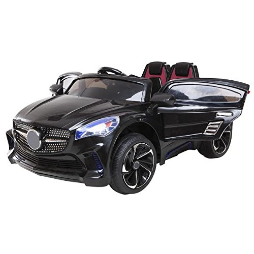 1234-Buy 2015 New Kids Ride on Car Mercedes CLA Style with 12V twin motors + parental remote control + open able door + 2 forward speeds + mp3 input + music volume control, available in colour Black, Pink, Red and White (Black)