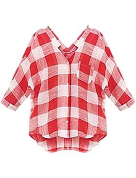 Lannister Fashion Camisas Mujer A Cuadros Manga Larga Tallas Grandes Blusas V Cuello Verano Primavera Elegantes...