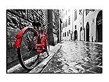 Alu-Dibond Bild Rotes Fahrrad in Paris ALB00611 Butlerfinish® 60 x 40 cm, Wandbild Edel gebürstete Aluminium-Verbundplatte, Metall effekt Eyecatcher!