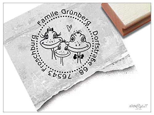Stempel - Individueller Adressstempel rund Frosch-Familie - Familienstempel personalisiert Name Adresse Tiere, Geschenk - zAcheR-fineT
