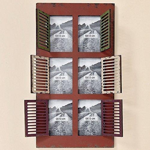 Bilderrahmen für 6 Bilder 9 x 13 mit Fensterladen Holz braun rot weiß grün