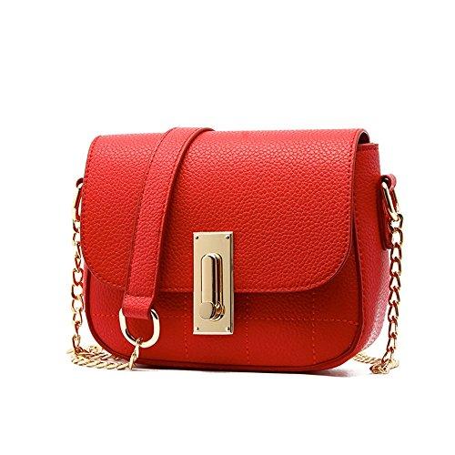 Pacchetto catena estate, borsa a tracolla semplice coreana, zaino obliqua mini, borse selvaggi ( Colore : Grigio ) Rosso