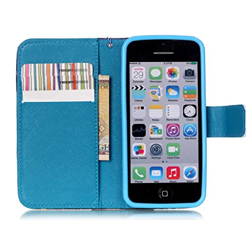 5C Coque, iPhone 5C Coque, Lifeturt [ Mer ] Coque Dragonne Portefeuille PU Cuir Etui en Cuir Folio Housse, Leather Case Wallet Flip Protective Cover Protector, Etui de Protection PU Cuir Portefeuille  E02-Mer128933