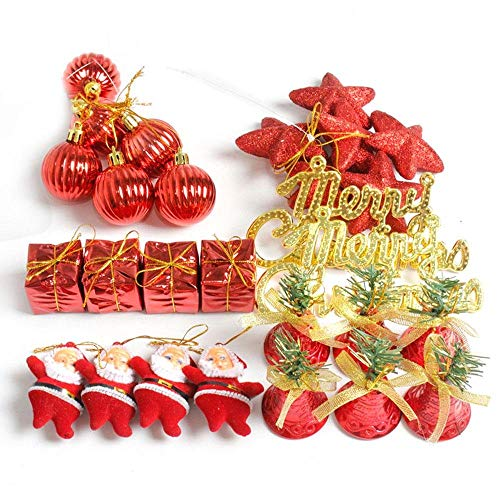 euwanyu niceEshop(TM) 28ct Christmas Tree Ornaments Set Assortment Including Balls, Star, Gift Boxes, Bells, Santa Claus, Alphabet Card for Xmas Holiday Wedding Party Decoration, Red -