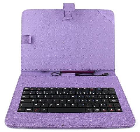 Etui violet + clavier intégré AZERTY (français) pour Asus Zenpad Z300M-6A037A Tablette hybride 10.1