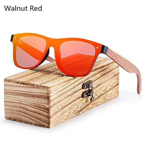 ANSKT Polarized Black Walnut Wood Sonnenbrille Men Square Damen Sonnenbrille UV400 Oculos Gafas Oculos de sol Masculino-Walnut_Red