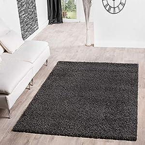 T&T Design Shaggy Teppich Hochflor Langflor Teppiche Wohnzimmer Preishammer versch. Farben, Größe:70x140 cm, Farbe:anthrazit
