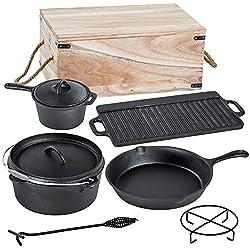 TecTake® Lot de 9 pièces poêle casserole en fonte