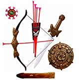 #3: IndusBay Bahubali Warrior Set with Kings Sword, Scabbard, Bow and 3 Arrows & Dragon Shield - Thrones Fancy Dress for Kids Cosplay