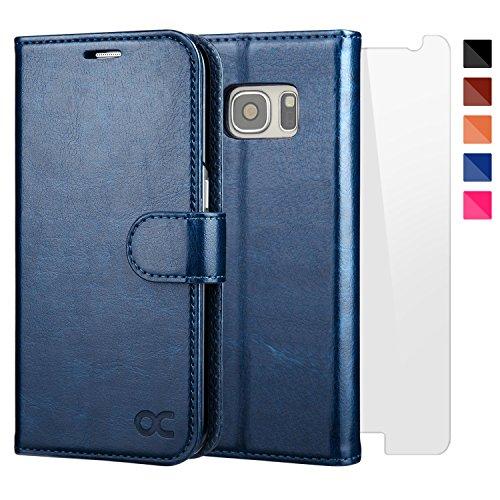 OCASE Coque Samsung Galaxy S7 Porte-cartes [ Film De Protection Offert ] étui Porte-Carte à Rabat Housse en Cuir - Bleu