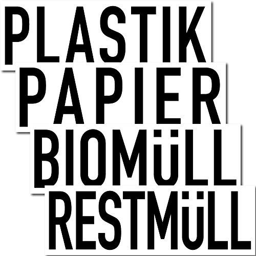 Preisvergleich Produktbild Aufkleber Sticker 20cm Papier Restmüll Plastik Bio Mülleimer Mülltonne Müll Kontainer (4er Set)