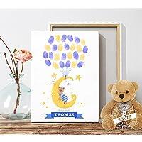 Geschenk zur Taufe und Geburt Taufbaum für Fingerabdrück Erinnerung Kinderzimmerdeko Leinwand oder Papier PERSONALISIERBAR