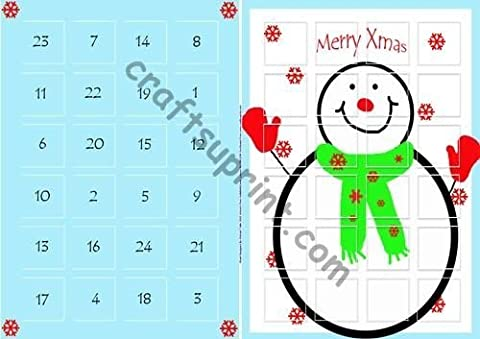 Feuille A4 pour confection de carte de vœux - Freddy The Magical Snowman Advent Calender par Michael Tullio
