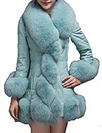 Helan Mujeres Lujo Delgado Faux Fox cuello de piel Abrigo largo