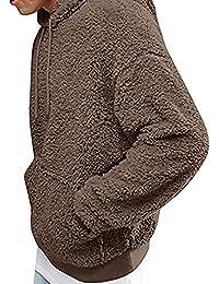 Carolilly Herren Teddy-Fleece Jacke mit Taschen Kapuzenpullover Warm Plüsch  Mantel Hoodie Sweatshirt Outwear 36a3f21ed2