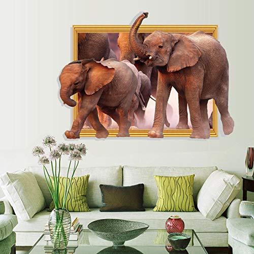 luludsoo Ventana Elefantes Pegatinas de Pared 3D para Niños Habitaciones Calcomanías DIY...