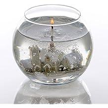 Winter Wonderland pueblo Snowscene - Globo de cristal vela del gel