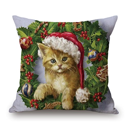 Pillowcase, Familizo Christmas Printing Dyeing Sofa Bed Pillow Cover Cushion Cover 45 x 45cm (J)
