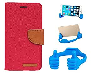 Aart Fancy Wallet Dairy Jeans Flip Case Cover for NokiaN540 (Red) + Flexible Portable Mount Cradle Thumb OK Designed Stand Holder By Aart Store.