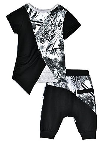 Eulla Garçon Ensemble Imprimé 2 Pièces Vêtements Sets pour Enfant T-shirt Short Pantalon Ensembles de pyjama