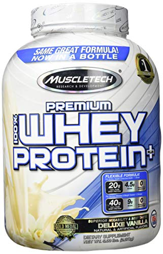 Muscletech 100% Premium Whey Protein Plus (5lbs) Deluxe Vanilla, 2.267 kg (5 Lb Muscle Milk)