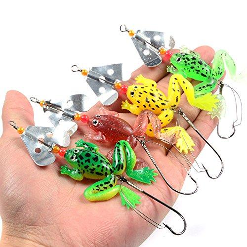 A-SZCXTOP Leurres artificiels 4pcs/Lots 6G 9cm doux Grenouille Appât Leurre de pêche Spinner Cuillère Leurres basse Manivelle Appât Poisson oscillantes pour l'Amusement de l'extérieur