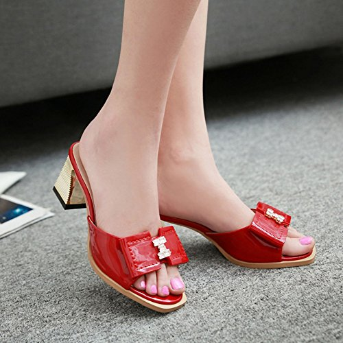 Versione coreana delle pantofole in estate/Tacchi grezzi/Bow pantofole all'aperto/Sandalo B