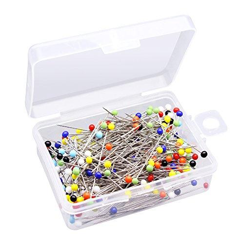 Homgaty 250pcs Glas Kopf Pins, bunten gerade nähen Pins mit Box für Schneidern, DIY Nähen Craft Tools Box Mit Push-pins