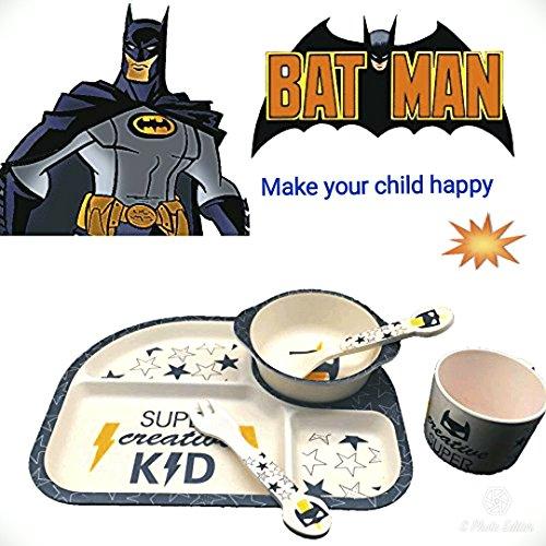 Bambusfaser Kindergeschirr Set Batman Held 5 Teile Geschirr Set Besteck Kinder Küche Spülmaschinenfest Bio Bamboo fiber Dinnerware Set Kinderbesteck Umweltfreundlich Spielzeug Kinder Bildung (Kinder-geteilte Platte)