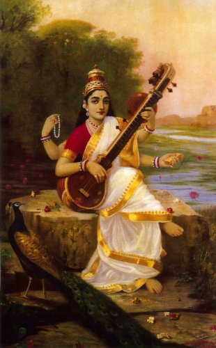 "Goddess Saraswathi(Unframed Canvas Prints) -Raja Ravi Varma Paintings-24""X16"" Goddess Saraswathi(Unframed Canvas Prints) -Raja Ravi Varma Paintings-24″X16″ 51LSGJ1kZPL"