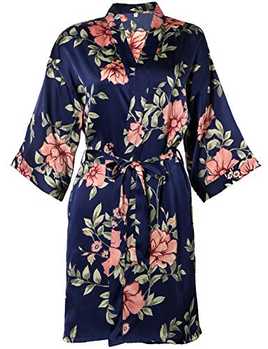 BellisMira Women's Satin Robe Silk Dressing Gown Floral Lace Pajamas Long Nightdress Sexy Ladies Bathrobe Sleep Slip Kimono (Robe Only) Trim Dressing Gown