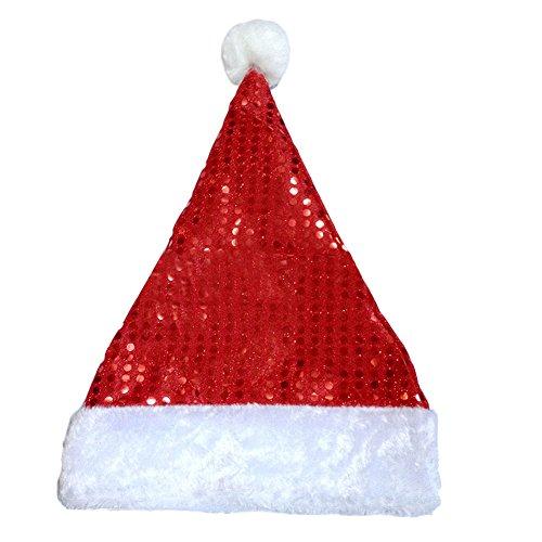 Boodtag Weihnachten Weihnachtsmütze mit Pailletten Weihnachts Hut Rot Party Weihnachtsmann Kostüm Weihnachtsdeko (Männer Weihnachtsmann Für Outfit)
