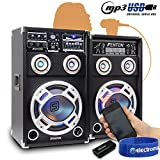"Fenton 2x 8"" Active Party Speakers 600W + Bluetooth Music Receiver + Cables"