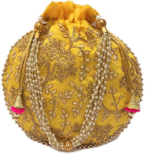 Saudeep India Multicolor Women's Rajasthani Traditional Potli Bag (Yellow)