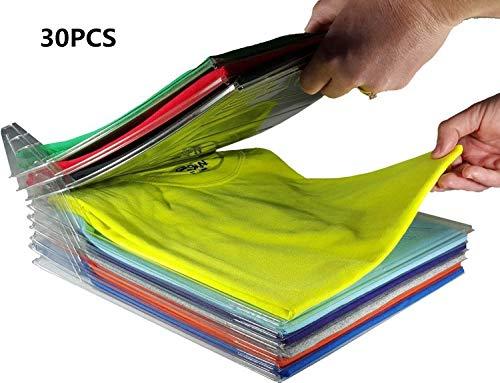 Miaogo Kleiderschrank Organizer Schubladen Organizer Schnelle Wäsche Organizer transparent Board Regal T-Shirt Faltbrett,30er Pack (30pack) -