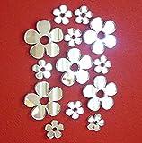 Set di 50 adesivi a specchio a forma di fiore, di diverse dimensioni, per cameretta dei bambini, decorazione per la casa, fai da te e album di ritagli