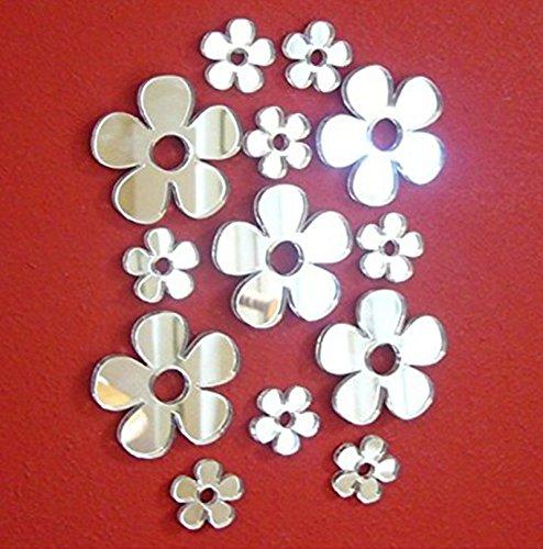 Juego 50 pegatinas espejo flores pequeñas, diferentes