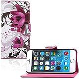 tinxi® PU Kunst Leder Tasche für Apple iPhone 6 plus/6s plus (5.5 zoll) Schutzhülle Tasche Flipcase Case Schale Hülle Cover Standfunktion mit Karten Slot lila Blume