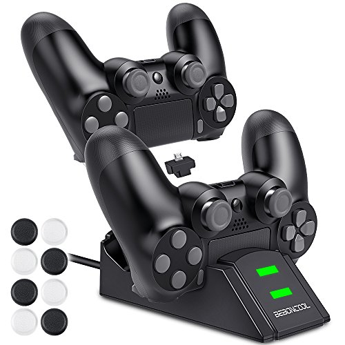 BEBONCOOL PS4 Controller Ladestation, DualShock 4 Controller Ladeger?t Charger Stand mit 2 Micro USB Lade Dongles 8 Thumb Grip f¨¹r PS4 / PS4 Slim / PS4 Pro Controller